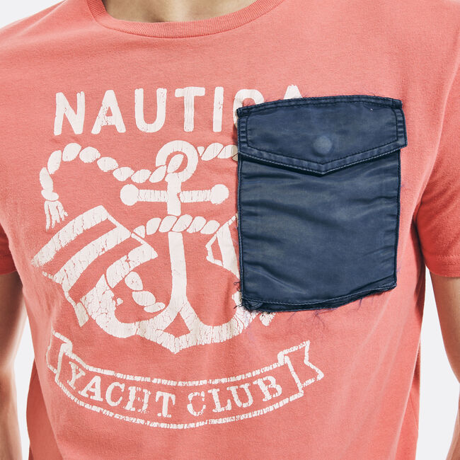 NAUTICA JEANS CO. GRAPHIC POCKET T-SHIRT,Sugar Coral,large