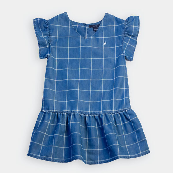 GIRLS' WINDOWPANE CHAMBRAY DRESS (8-20) - Light Tide Water Wash