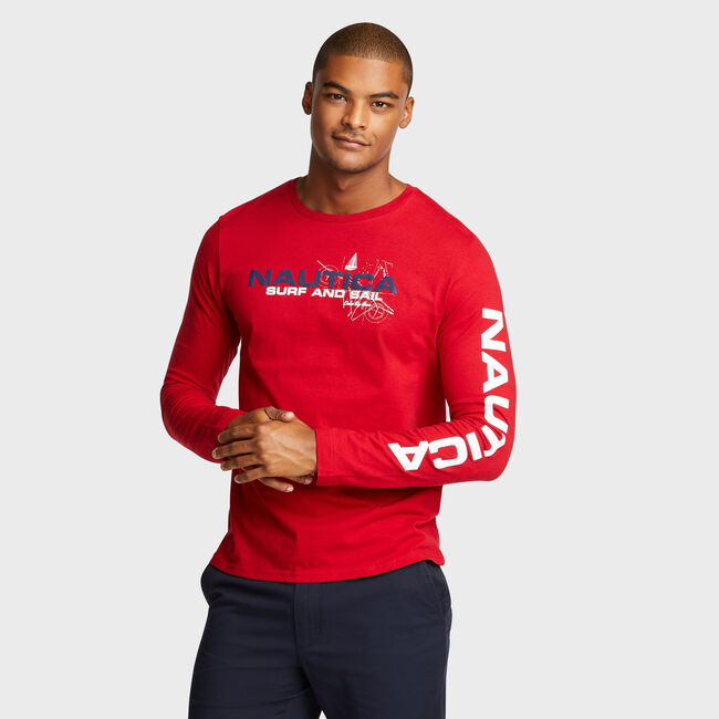 SURFER BACK GRAPHIC LONG SLEEVE TEE,Nautica Red,large