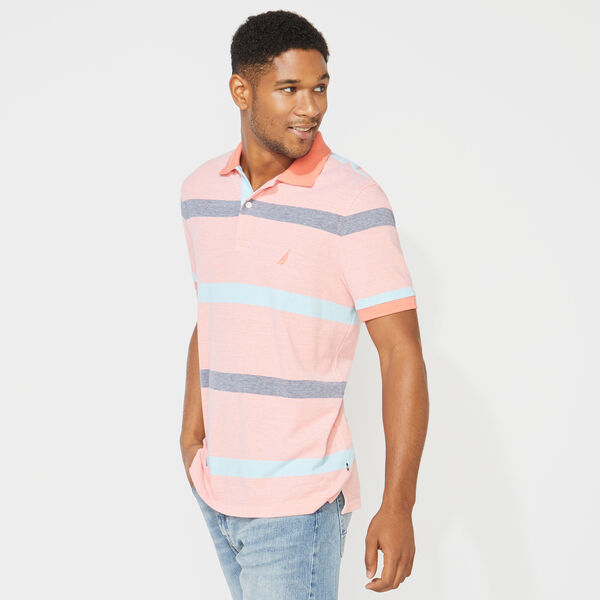 CLASSIC FIT STRIPE POLO - Livng Coral