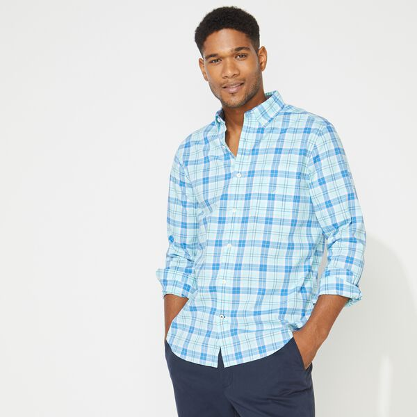 BIG & TALL CLASSIC FIT PLAID LONG SLEEVE PRINT OXFORD SHIRT - Aquadream