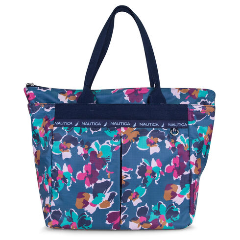 Captain's Quarters Medium Tote - Floating Floral - Majestic Purple