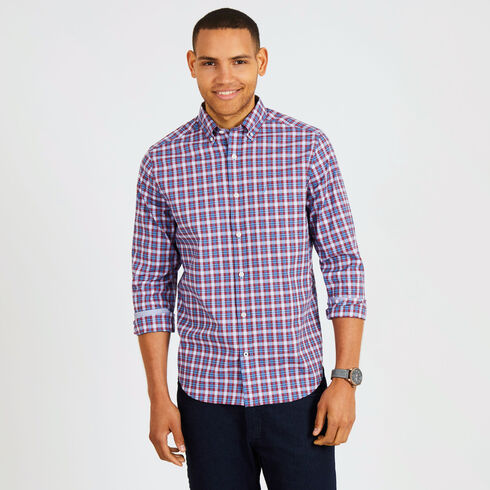 Long Sleeve Plaid Wrinkle-Resistant Classic Fit Shirt - Rescue Red