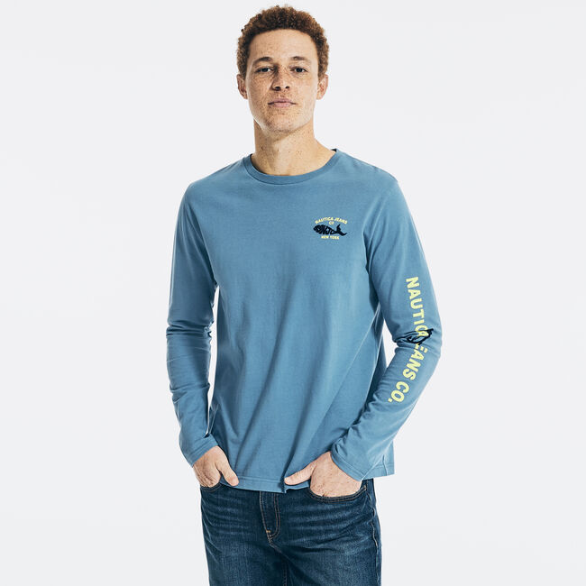 NAUTICA JEANS CO. GRAPHIC LONG-SLEEVE T-SHIRT,Star Sapphire,large