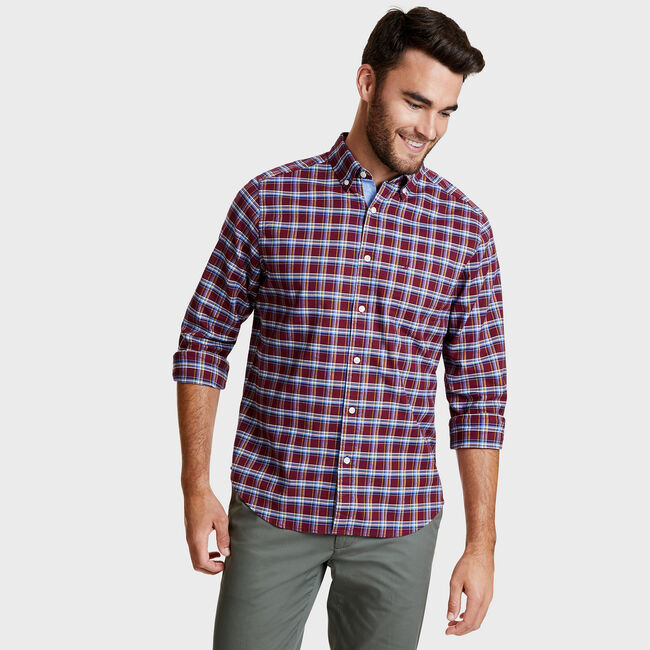 Oxford Multi-Plaid Long Sleeve Classic Fit Shirt,Nantucket Red,large