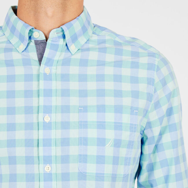 Long Sleeve Plaid Classic Fit Button Down,Vibe Green,large