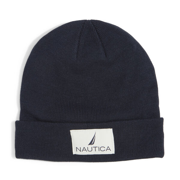 KNIT PATCH CUFF HAT - Navy