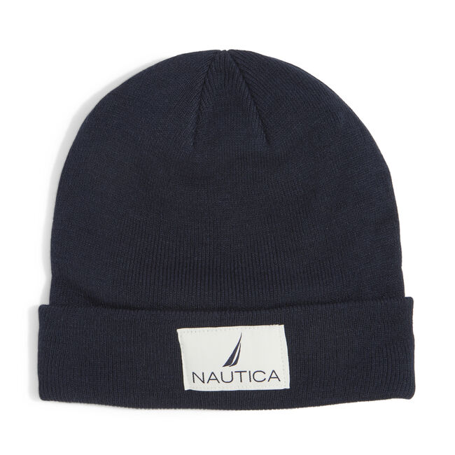 KNIT PATCH CUFF HAT,Navy,large