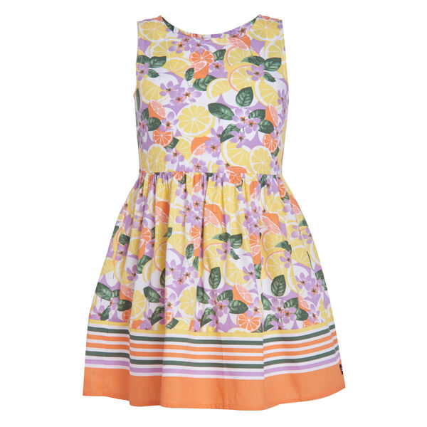 GIRLS' STRIPE AND FRUIT PRINT POPLIN DRESS (8-20) - Limelight