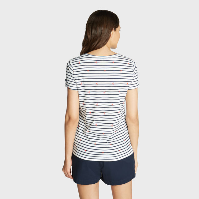 CLASSIC FIT T-SHIRT IN STRIPE & LOBSTER PRINT,Bright White,large