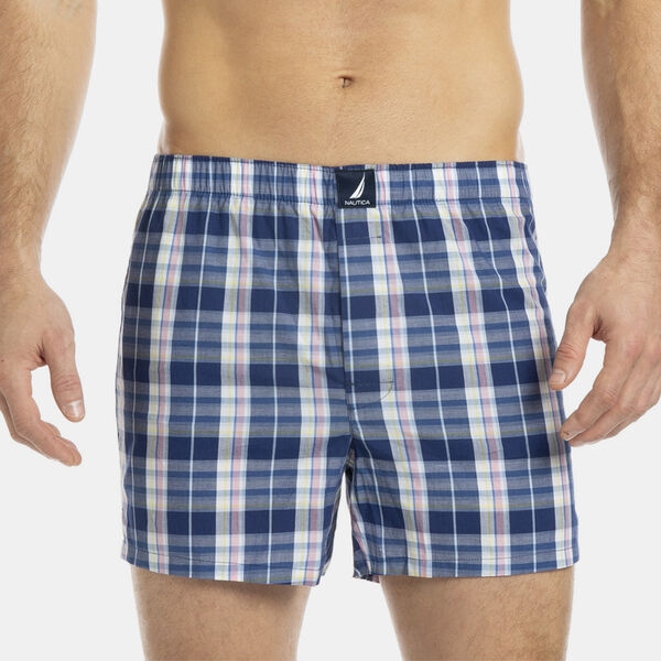 Woven Boxers in Blue Depths Plaid - New Pink