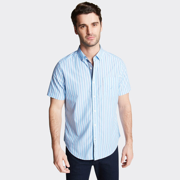 CLASSIC FIT SHORT SLEEVE POPLIN SHIRT IN STRIPE - Washed Navy Heather