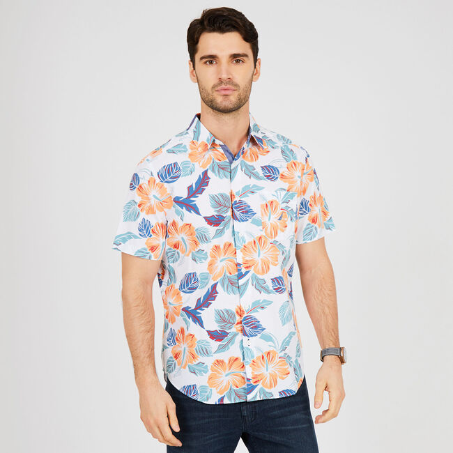 Floral Classic Fit Short Sleeve Button Down,Orange,large