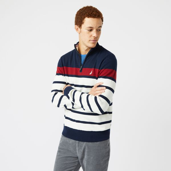 NAVTECH COLORBLOCK-STRIPED QUARTER-ZIP SWEATER - Navy