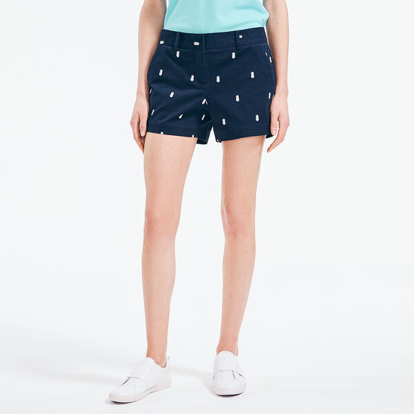 "4"" PINEAPPLE PRINT STRETCH-TWILL SHORT - Stellar Blue Heather"