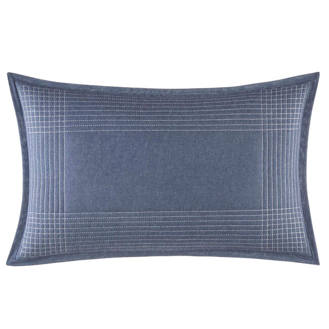 Norwich Blue Striped Pillow,Navy Dusk,large