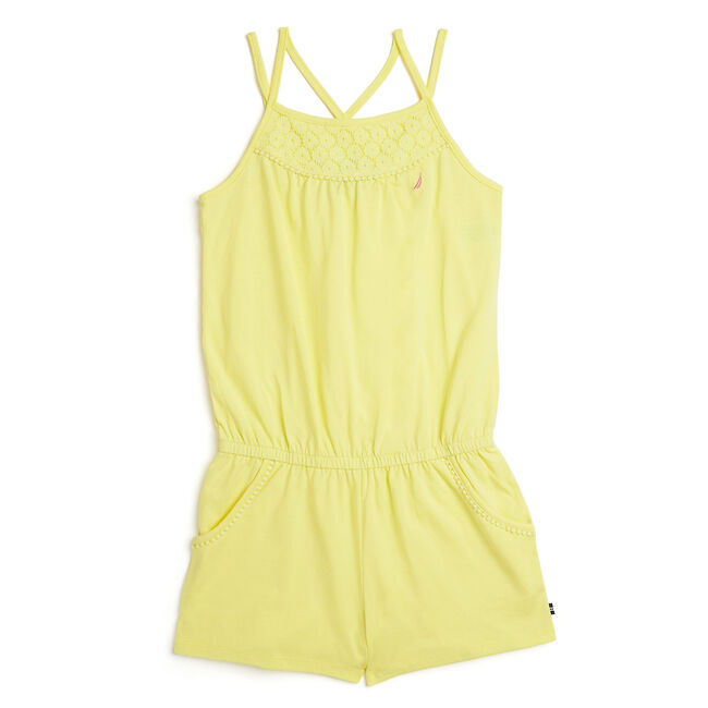 Toddler Girls' Knit Jersey Romper With Pom-Pom Trim (2T-4T),Yellow (nrma Code),large