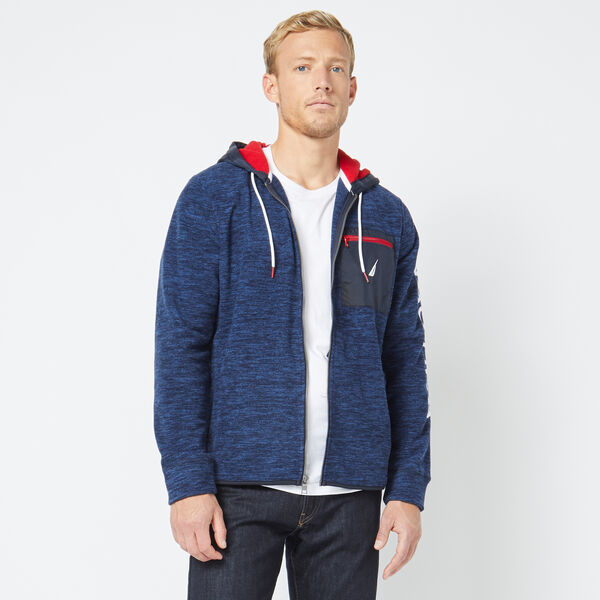 MIXED MEDIA FULL-ZIP HOODIE - Navy