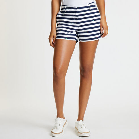 "Stripe + Palm Tree Shorts - 4"" Inseam - Bright White"
