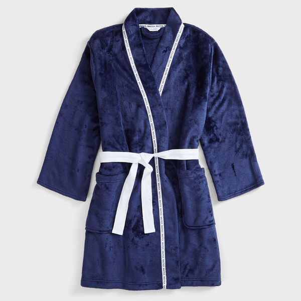 SUSTAINABLY CRAFTED LOGO TRIM ROBE - Ice Blue