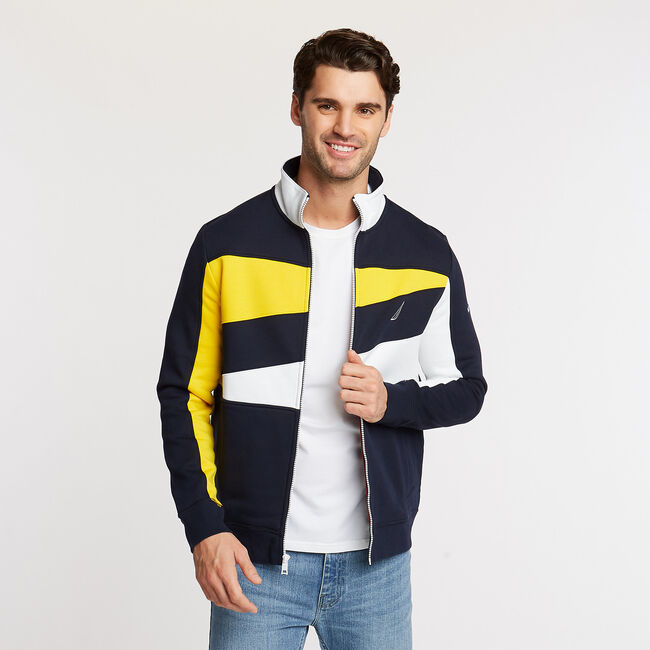 DIAGONAL CHEST STRIPE KNIT JACKET,Navy,large