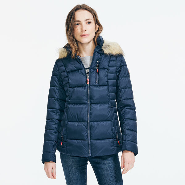 WATER-RESISTANT FAUX FUR TRIM HOODED PUFFER COAT - Stellar Blue Heather