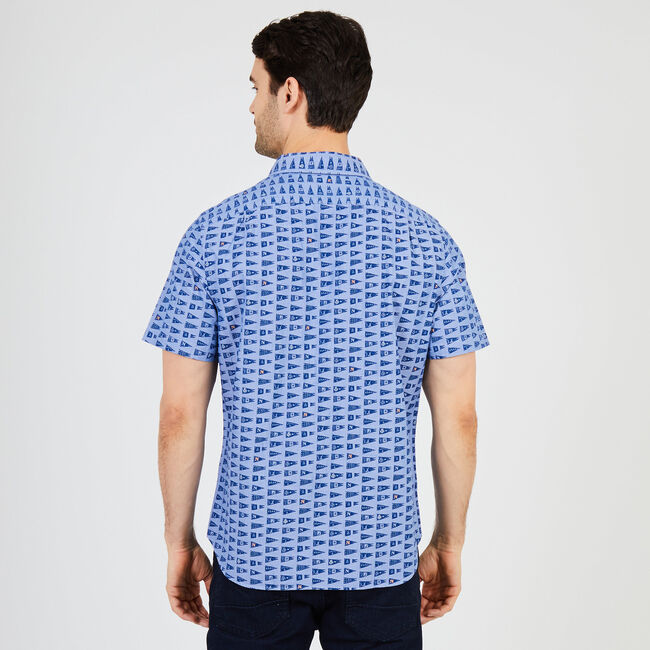 Signal Flag Classic Fit Short Sleeve Button Down,Union Blue,large