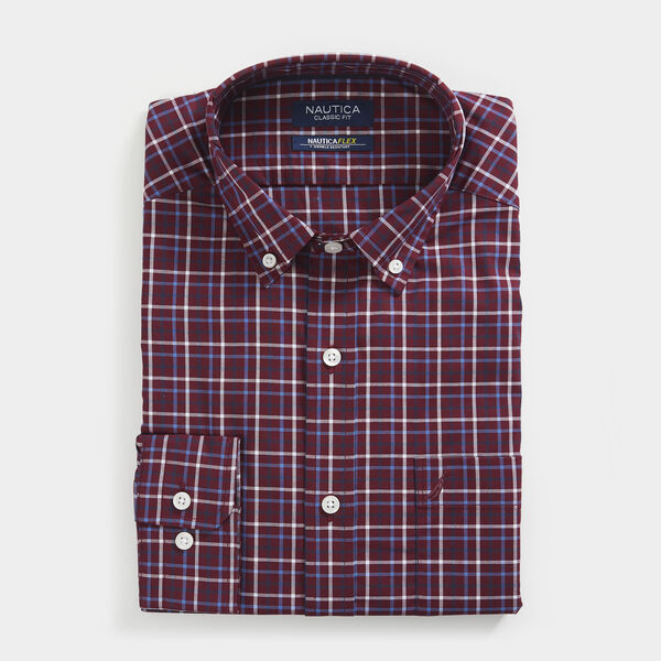 CLASSIC FIT WRINKLE RESISTANT SHIRT IN MINI TATTERSALL - Zinfandel