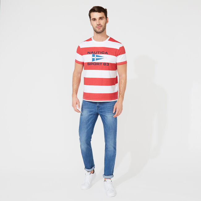 STRIPED GRAPHIC T-SHIRT,Bright White,large