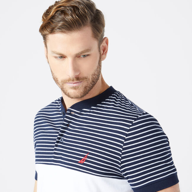 SLIM FIT STRIPE HENLEY,Navy,large