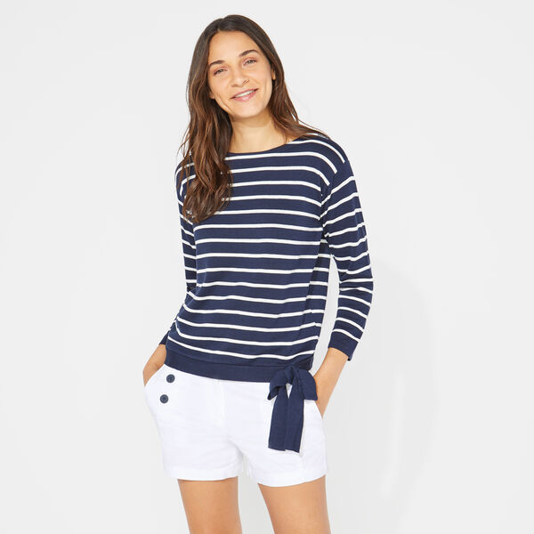 LUREX-STRIPED TIE-FRONT SWEATER - Stellar Blue Heather