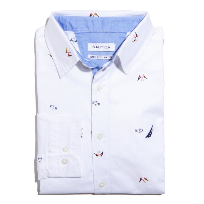 MARITIME ICON PRINTED LONG SLEEVE CLASSIC FIT OXFORD SHIRT,Bright White,large