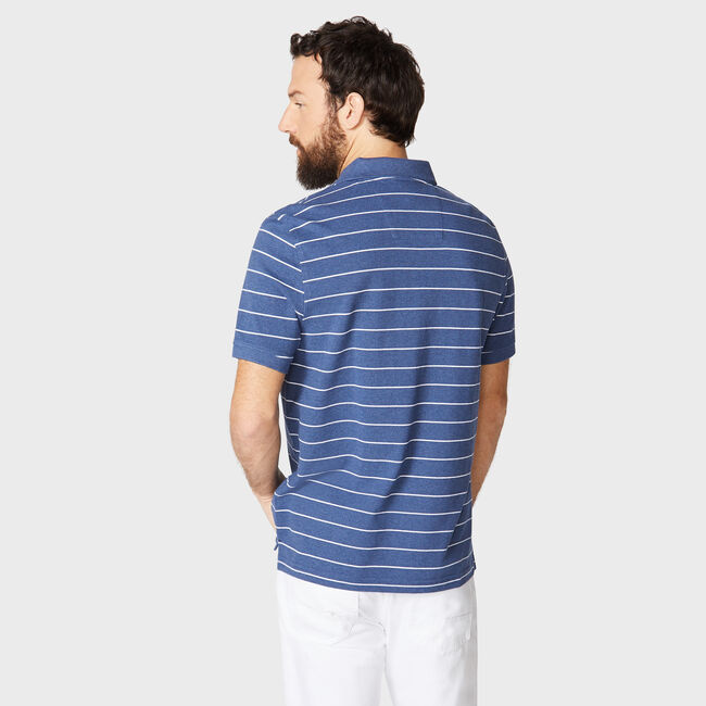 Classic Fit Mesh Polo in Breton Stripe,Stellar Blue Heather,large