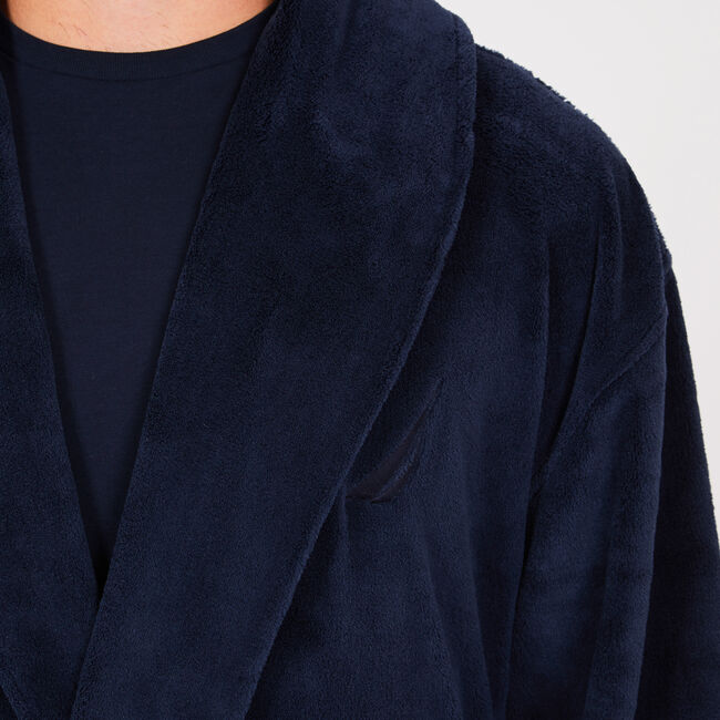 Plush Shawl Collar Robe,Pure Dark Pacific Wash,large