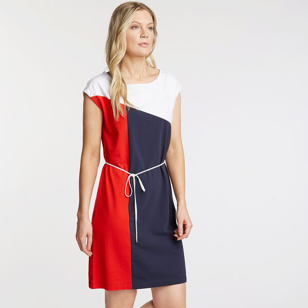 Colorblock Boatneck Jersey Dress - Deep Sea