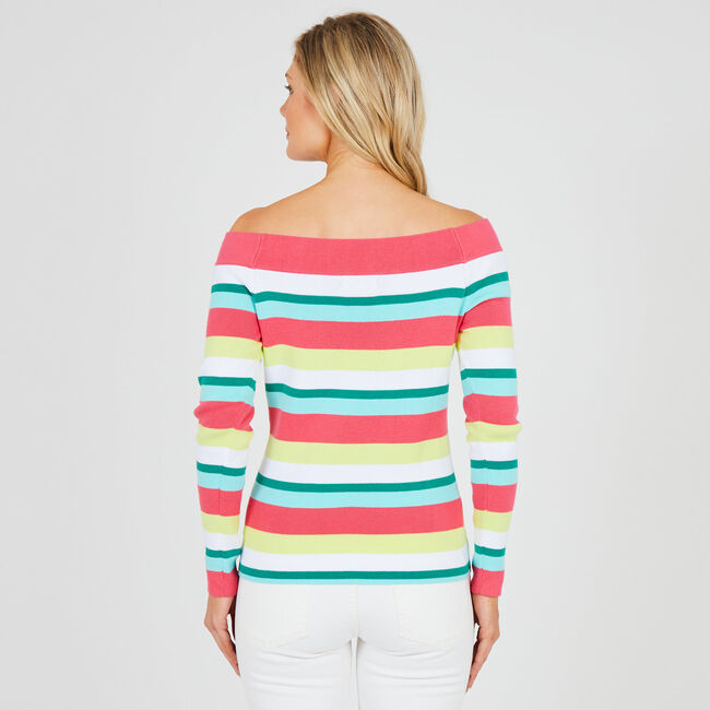 Off-The-Shoulder Striped Sweater,Downhill Red,large
