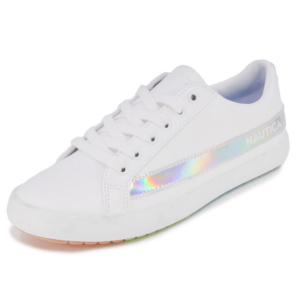 RAINBOW IRIDESCENT STRIPE LOGO SNEAKER - Antique White Wash