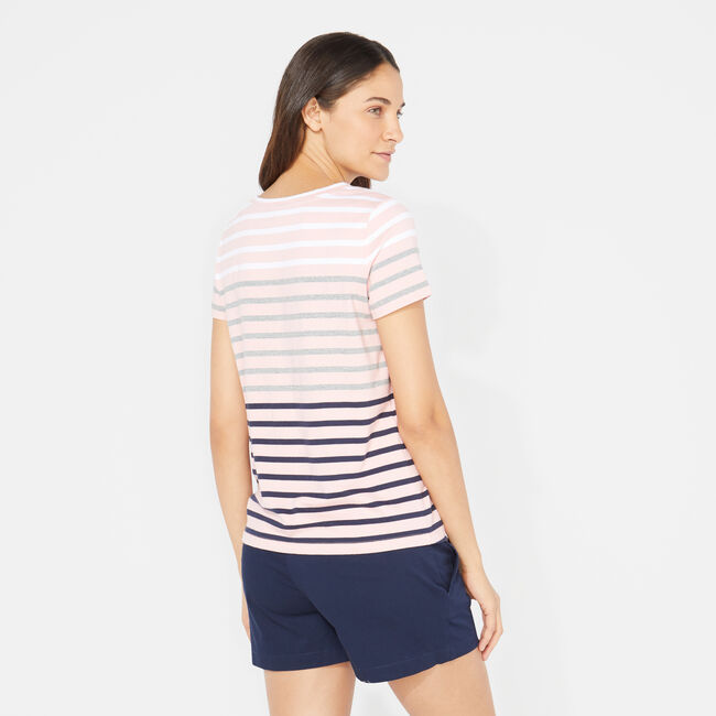 OMBRE STRIPE TIE-FRONT TOP,Prism Pink,large