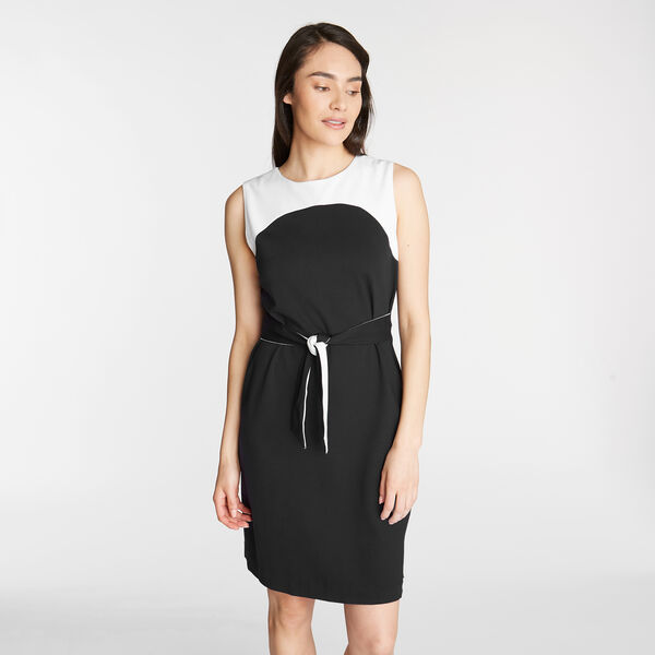 PONTE SHEATH DRESS IN COLORBLOCK - True Black