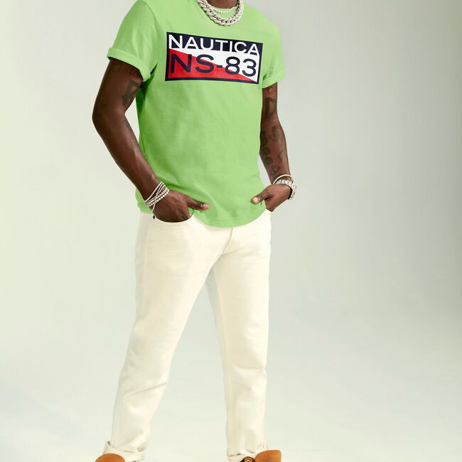 The Lil Yachty Collection by Nautica NS-83 Graphic T-Shirt,Lime Surf,large