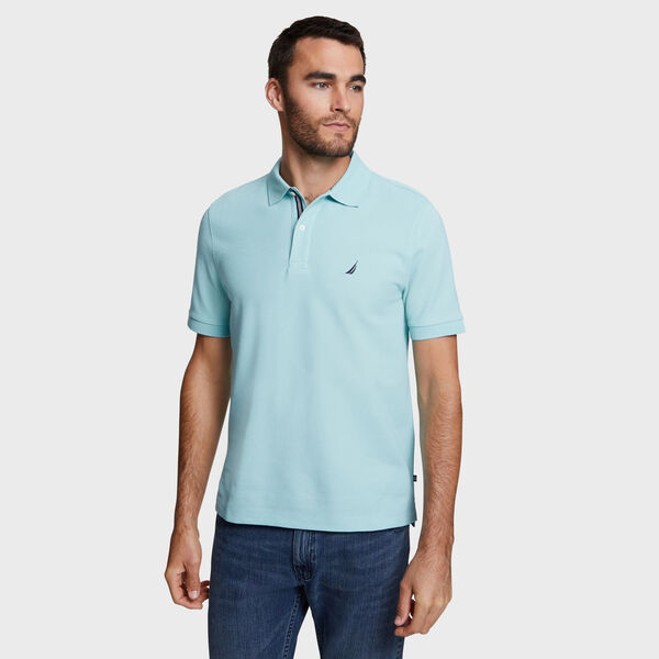 Classic Fit Solid Mesh Polo Shirt - Medallion Blue