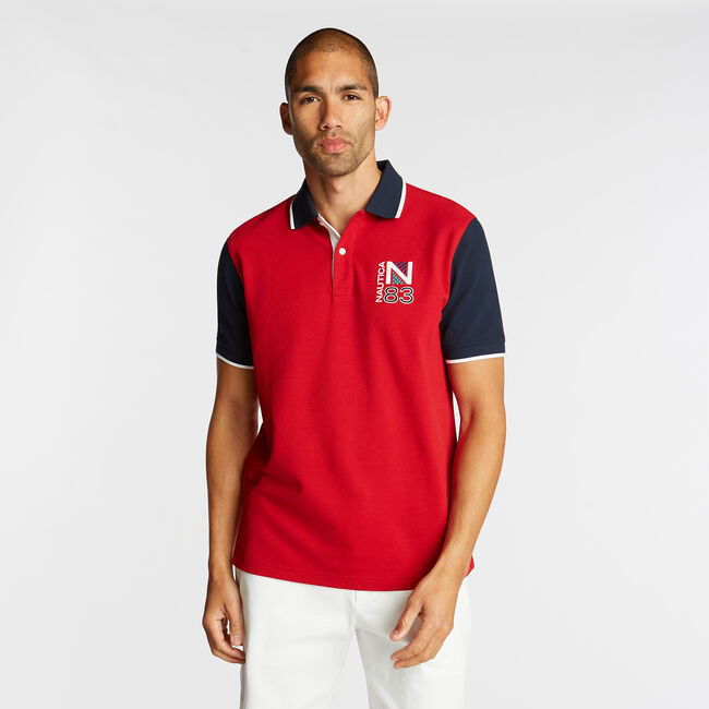 CLASSIC FIT CONTRAST COLLAR POLO,Nautica Red,large