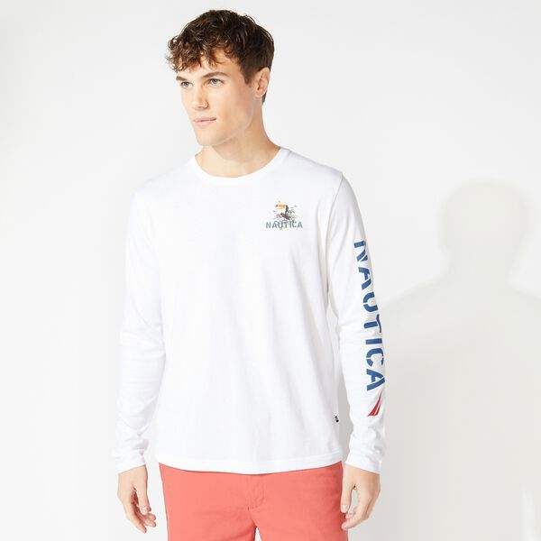 LONG SLEEE KIAWAH ISLAND PRINT T-SHIRT - Bright White