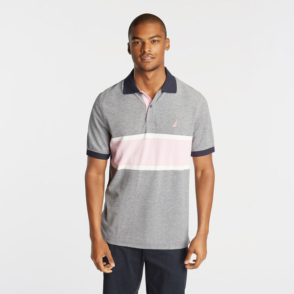 CLASSIC FIT OXFORD MESH POLO WITH CHEST STRIPE - Pure Dark Pacific Wash