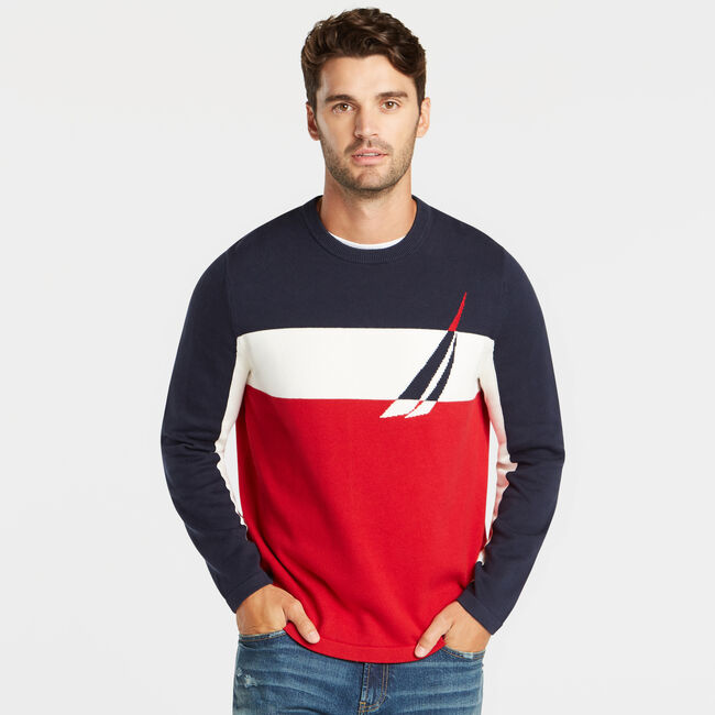COLORBLOCK INTARSIA LOGO SWEATER,Navy,large