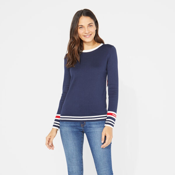 LONG SLEEVE COLORBLOCK SPORTY PULLOVER SWEATER - Stellar Blue Heather