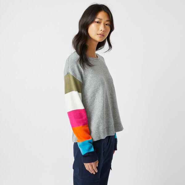 COLORBLOCK-SLEEVE KNIT SWEATER - Quarry Heather