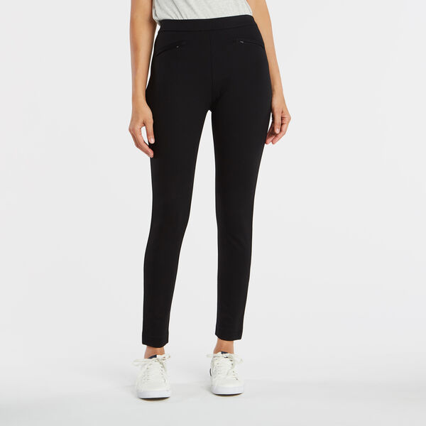 PULL ON PONTE ANKLE PANTS - True Black
