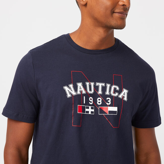 1983 LOGO SLEEP T-SHIRT,Navy,large