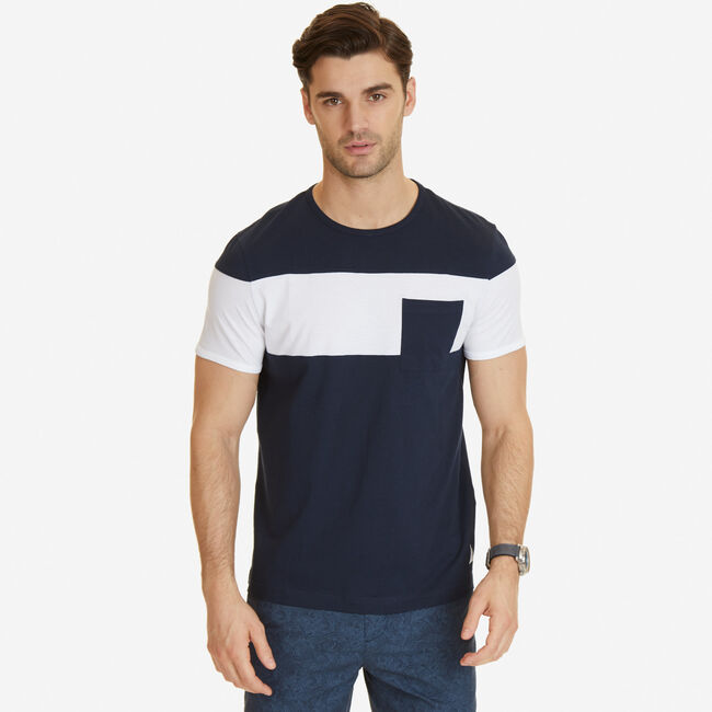 Color Block T-Shirt,Pure Dark Pacific Wash,large